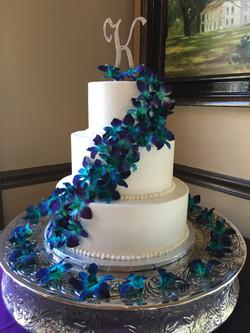 Peacock Floral Cascade Wedding Cake