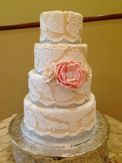 Vintage Lace with Bling wedding cake