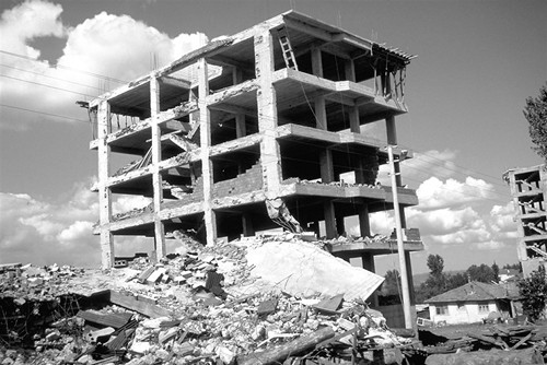 Failure of a building during Earth Quake