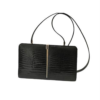 New vintage sac en croco noir
