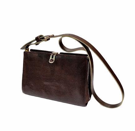 New vintage sac en lezard marron GM