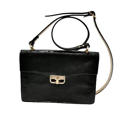 New vintage sac en lezard noir