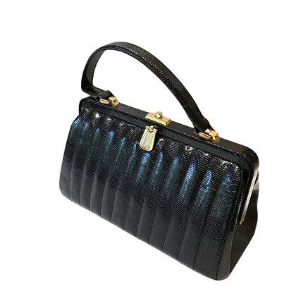 New vintage sac en lézard noir
