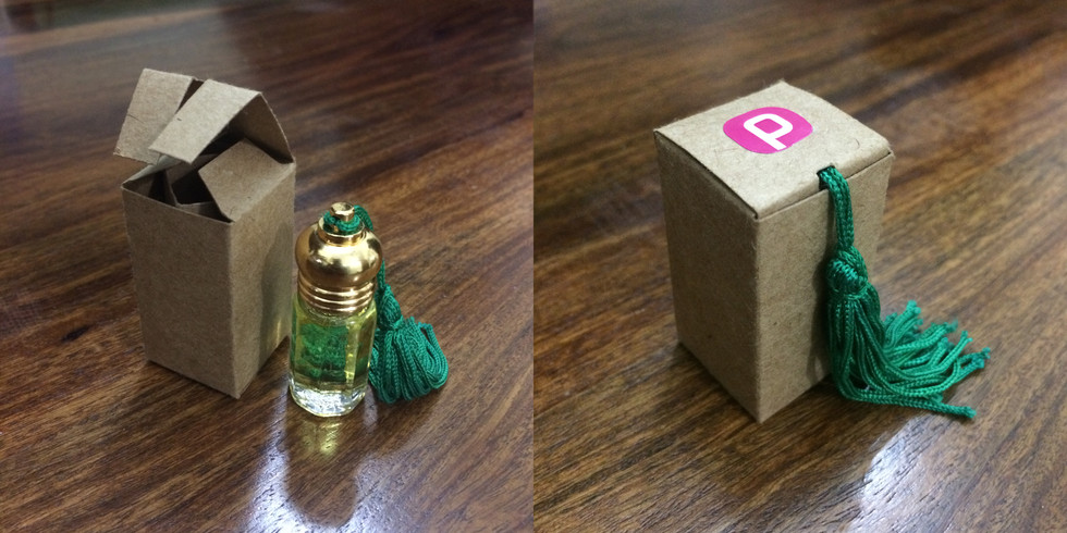 The attar box was custom designed from kraft paper for its natural brown colour (think soil). The construction of the box was such that it protected the glass bottle from all sides.