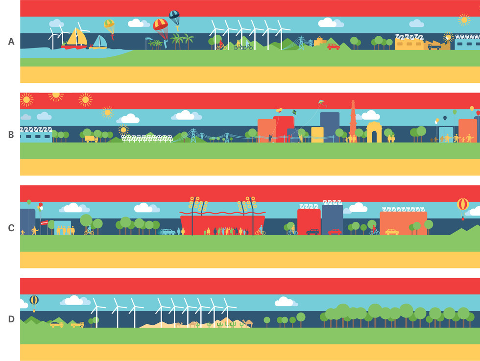 GLASS WALL RUNNER: A large glass wall separating the workspace from the pantry and restrooms was livened up with an illustrated landscape of renewable energy-sufficient city. This was printed as a single long vinyl sticker 24 inches wide.