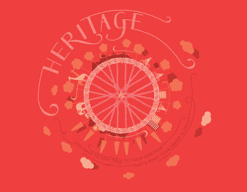 RED signifies heritage and is represented by seeds. The seeds here are used as a metaphor for heritage as they carry the bloodline of the plant.