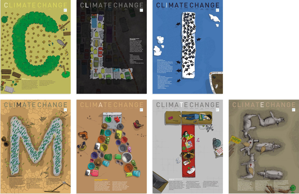 AT A MICRO LEVEL: As a person approached these posters finer details were revealed. One could see rampant deforestation changing the face of our landscape, melting icebergs eating away penguins' habitat, drought conditions having an impact on the agricultural yield and so on. Each poster dealt with a different issue pertaining to climate change. The first seven posters (reading climate) dealt with topics focussed on the basics of climate change such as—What (is climate change), why (is the climate changing), effect (of climate change), (affect on) food, water, health, biodiversity. And the next six posters (reading change) talked about ways to deal with the problem such as—adaptation, solutions and committing to a better climate. Within 'change' we literally talked about it and offered a positive scenario.
