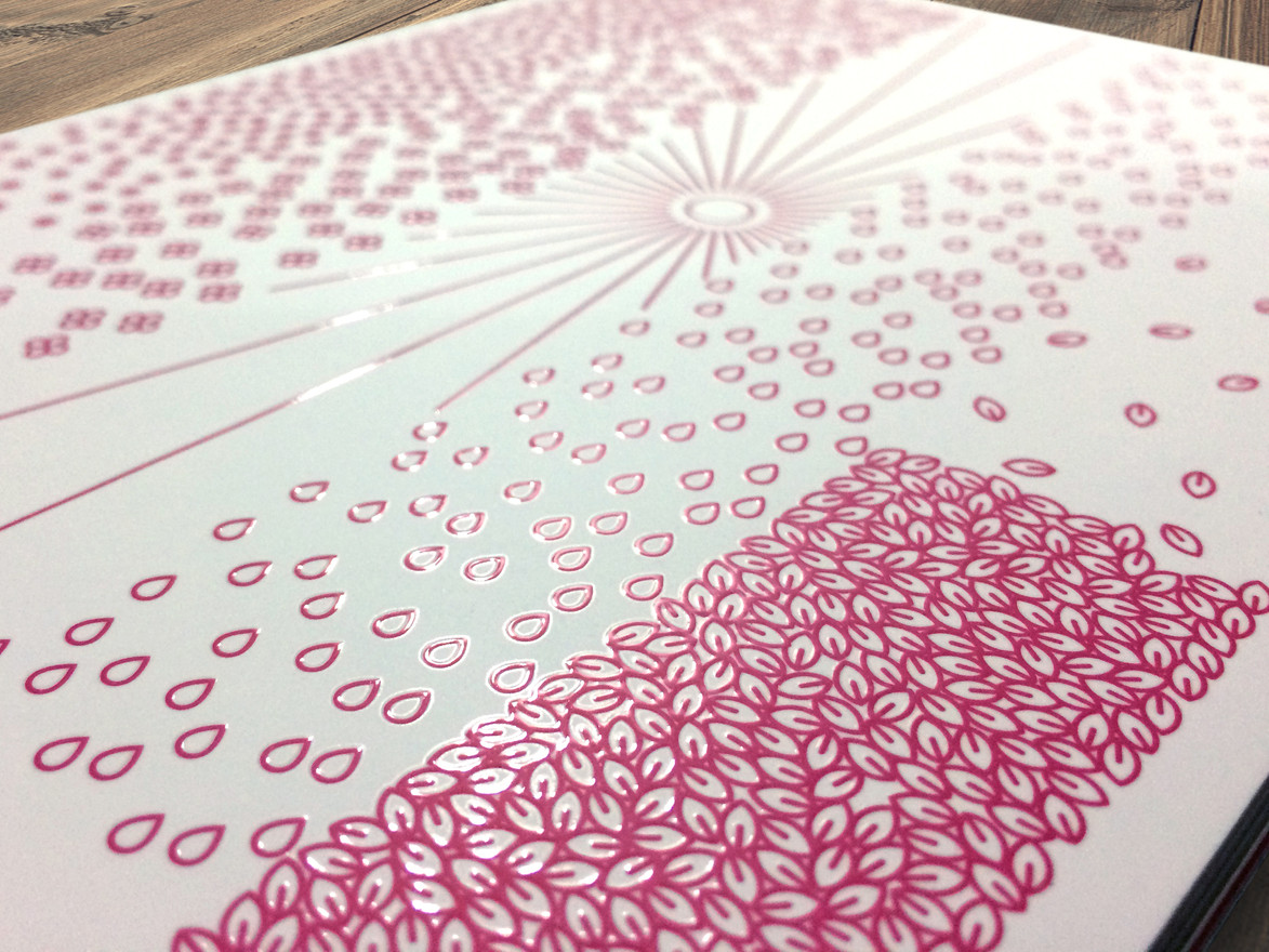 The cover had a raised UV coating over the magenta print to give it a more sophisticated look.