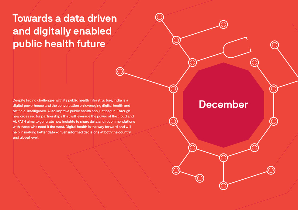 The design combines a stethescope and lines from a circuit board reaching multiple people playing on the aspect of a technology enabled healthcare for all. Please note that this month separator is a spread.