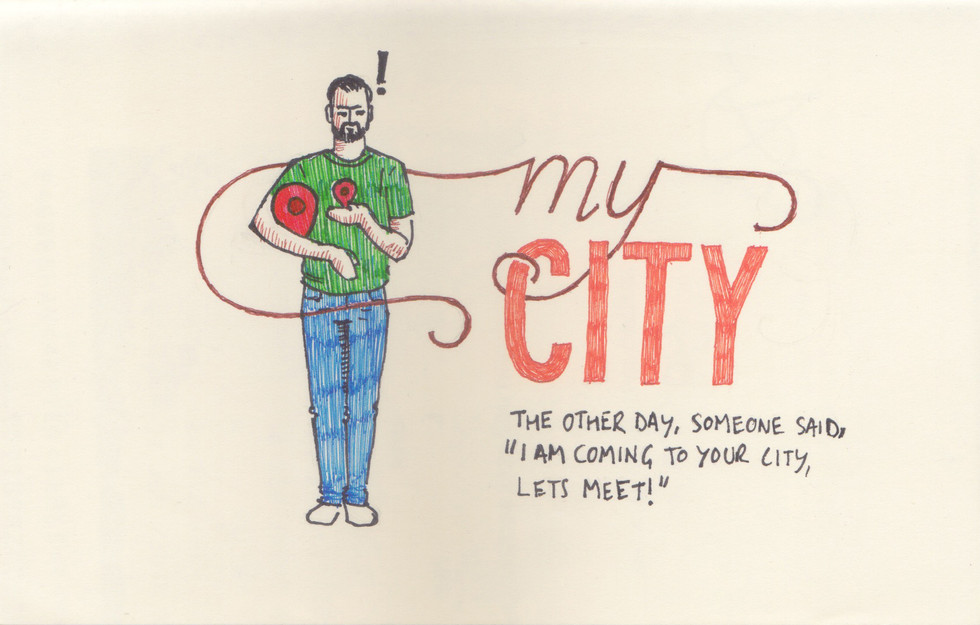 Someone told me that he is coming to my city and would love to meet me. It left me to wonder which city does he mean? Which city can I really call as 'my city'? So I wrote and drew a poem on this confusion of mine.  Below is the link to the complete poem on my blog.  https://medium.com/dns-notes/my-city-61b70e9b295a