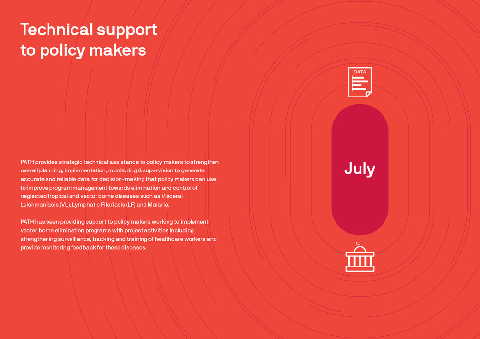 This one is inspired by the aspect that PATH provides strategic technical assistance to policy makers through accurate and reliable data for decision-making. Please note that this month separator is a spread.