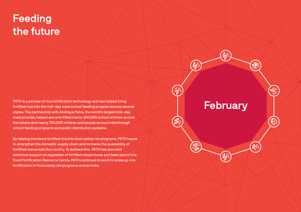 Rice is shown within a decagon that is formed by multiple lines creating a feeling of a protective shell around it playing on the notion of fortification. Please note that this month separator is a spread.