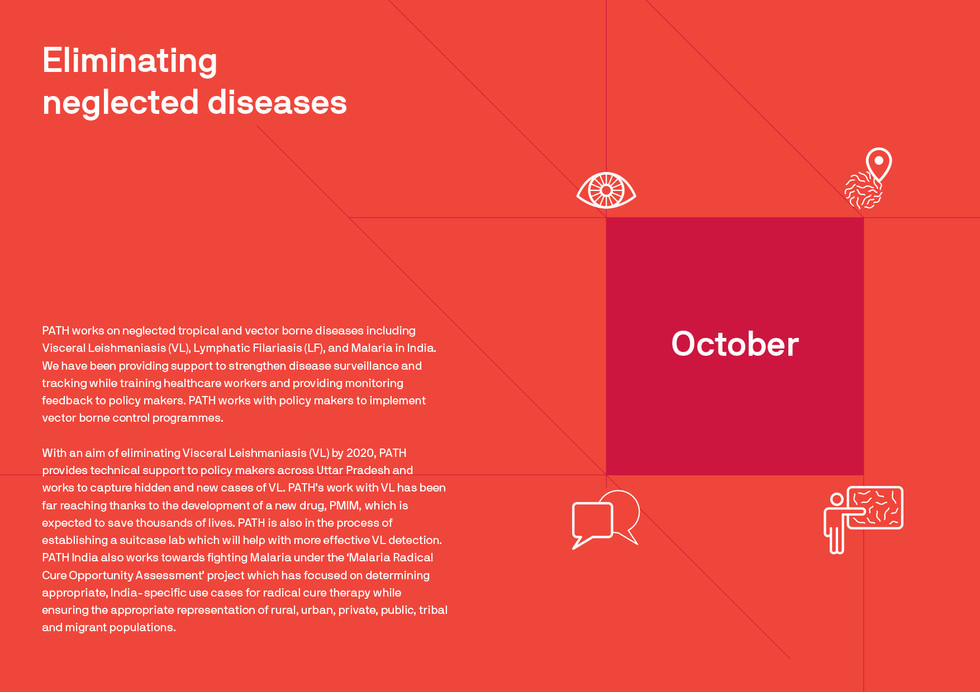 For eliminating neglected diseases, the following steps are followed; strengthen disease surveillance; tracking diseases; training healthcare workers; and providing monitoring feedback to policy makers. Please note that this month separator is a spread.