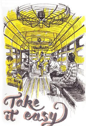 Inside a Tram in Calcutta