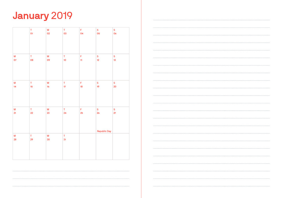 This spread shows the organiser with space for writing notes.