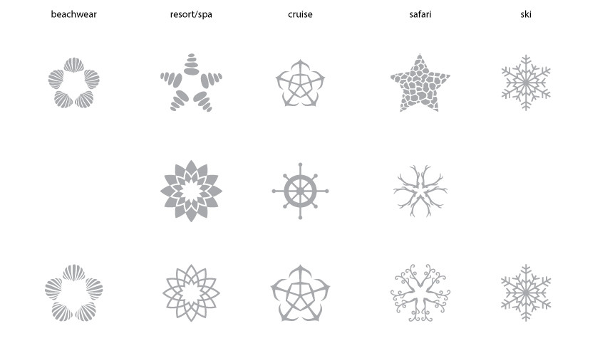 The line up shows the progression of the symbol design process that lead to the final set of five symbols.  I began deriving visuals from the categories suggested by the client and keeping it similar to the structure of the fractals used earlier. But it turned out to be too disjointed.