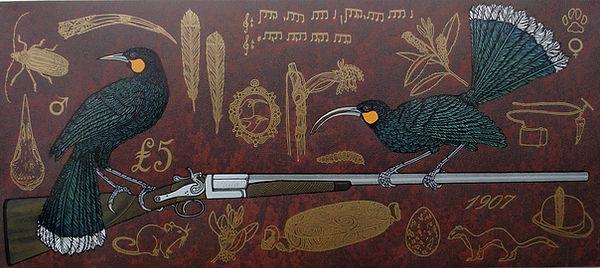 The Huia's Lament - woodcut - 2010 Jo Og