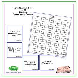 Advanced Grammar Game #10 4 in a Row Pronouns and Possessive Pronouns