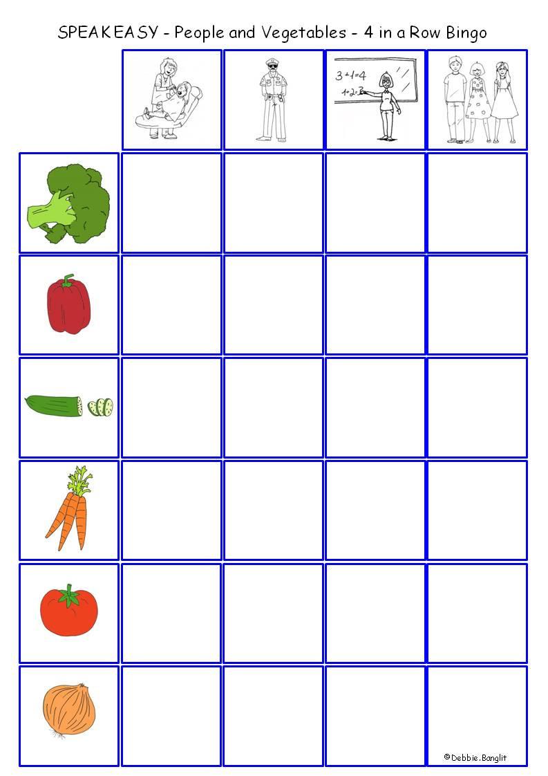 Speak Easy ESL People and Vegetables - 4 in a Row Bingo