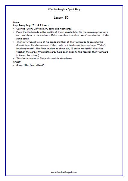 Speak Easy - Lesson Plan 25a