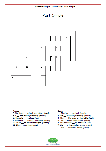 ESL Crosswords - past simple
