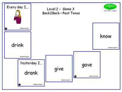 DebbieBanglit Level 2 ESL Card Game - Past Simple - Back2Back