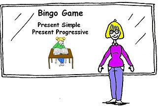 English Grammar Bingo Game - Present Simple and Present Progressive