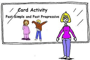English Grammar Card Activity - Past Simple and Past Progressive