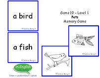 ESL Pets Vocabulay Card Game Level 1 pre A1