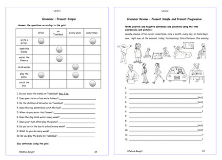 Level 2 pages 22 & 23  - Review the Present Simple and Present Progressive