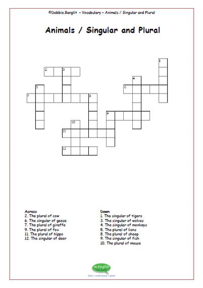 ESL Crosswords - singular and plural animals