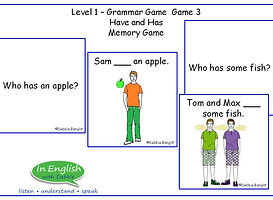 ESL DebbieBanglit Level 1 Grammar Game Have and Has Memory Game