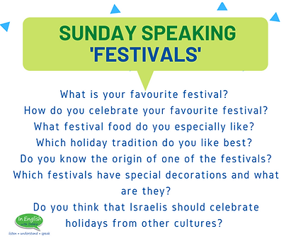 Sunday Speaking Subjects - Festivals