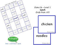 pre A1 ESL level Lunch Vocabury Board Game