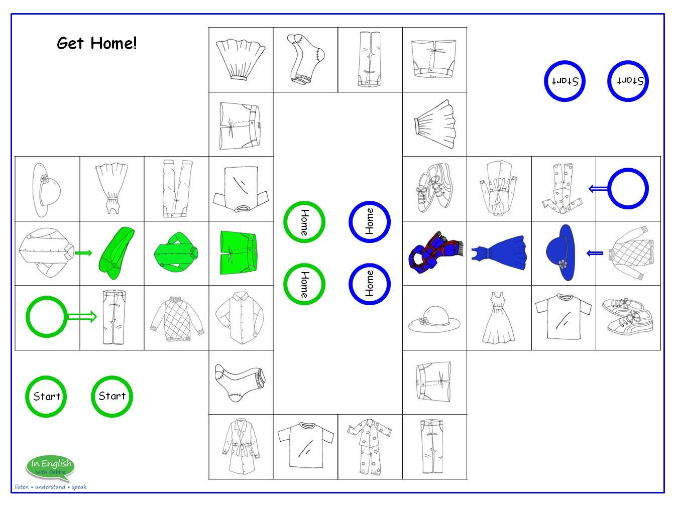Speak Easy ESL Clothes Home Board Game