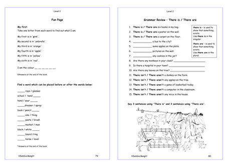 Level 2 - pages 79 & 80 Vocabulary Fun Page - Review of There is & There are