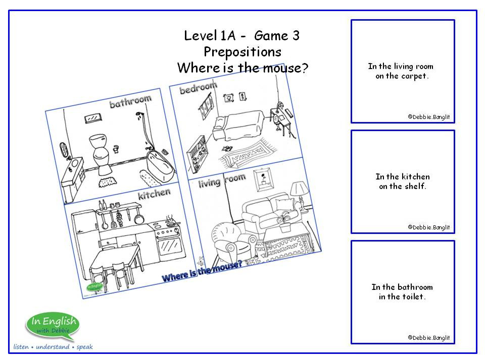 ESL Board Game - Prepositions - Where is the mouse?