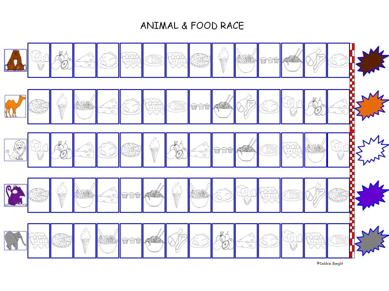 Speak Easy ESL Animal and Food board race game