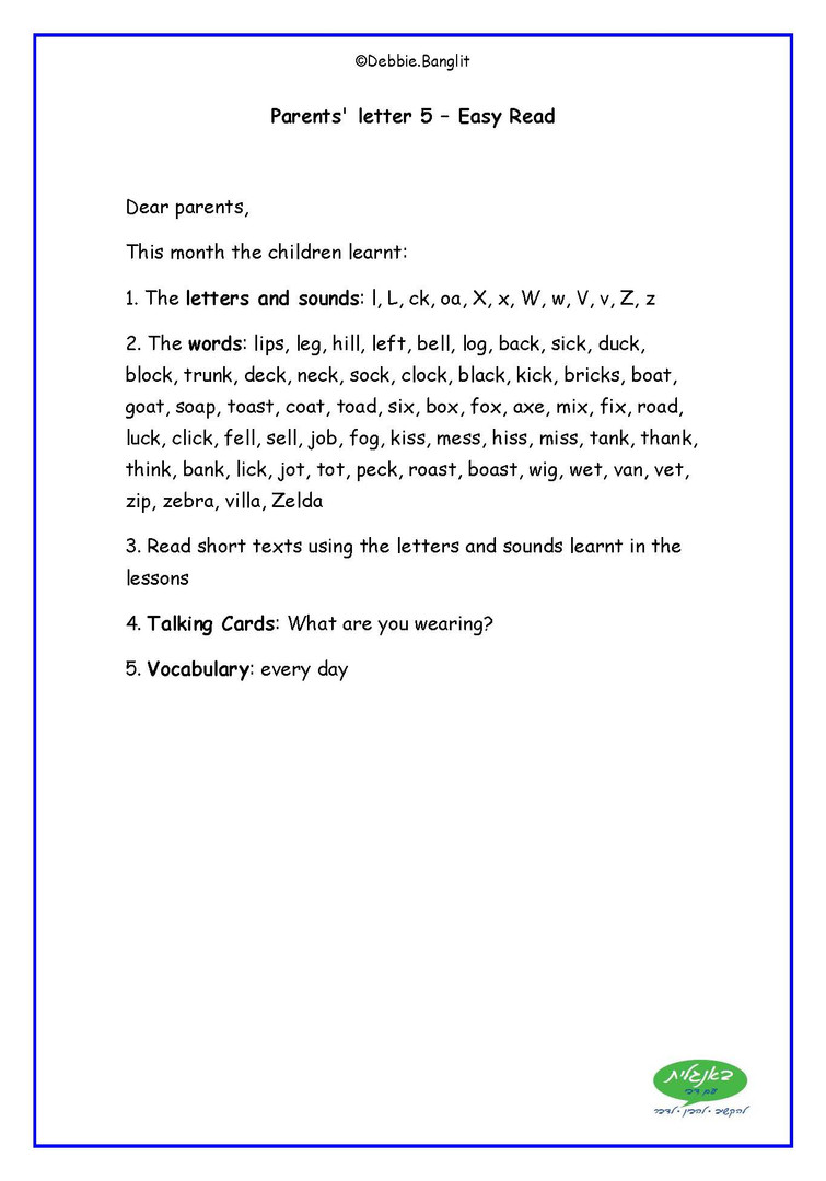Easy Read - Parent Letters