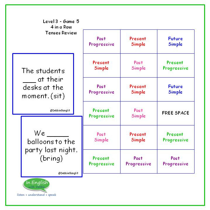 Level 3 #5 Four in a Row - Tenses Review
