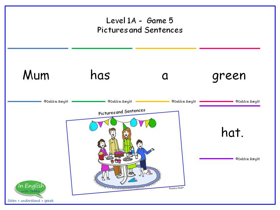 ESL Card game - Pictures and Sentences