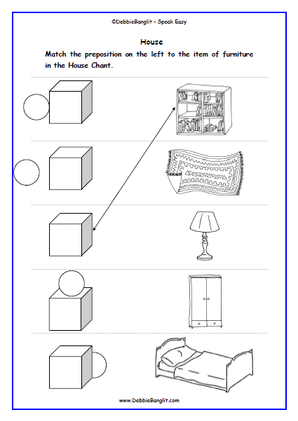 House and Prepositions Matching Activity