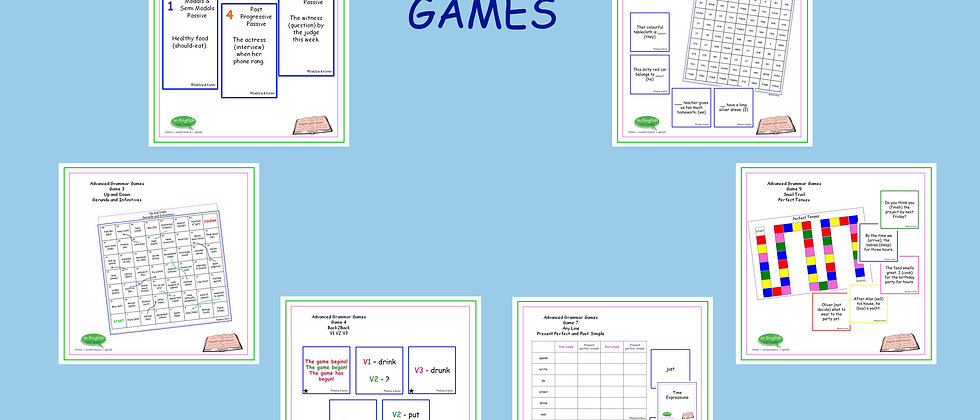 Grammar Games - Advanced Level - Set of 10 Games