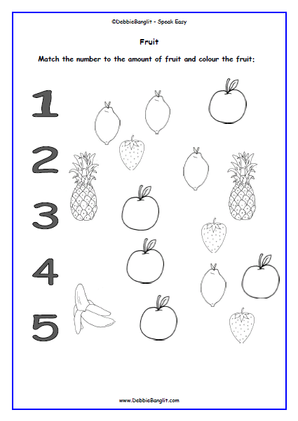 Fruit and Number Match and Colour