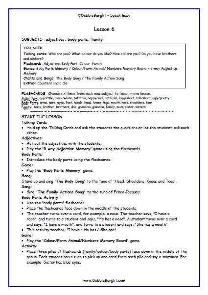Speak Easy - Lesson Plan 6