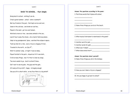 Level 2 pages 67 & 68  - A fun poem to review the Past Simple