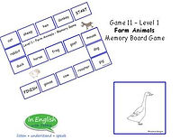 A1 ESL Level 1 Farm Animals Board Memory Game