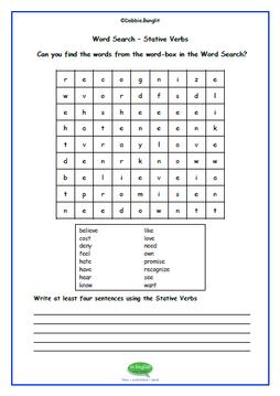 ESL debbiebanglit stative verbs - word search