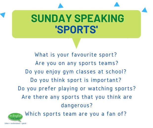 Sunday Speaking Subjects - Sport