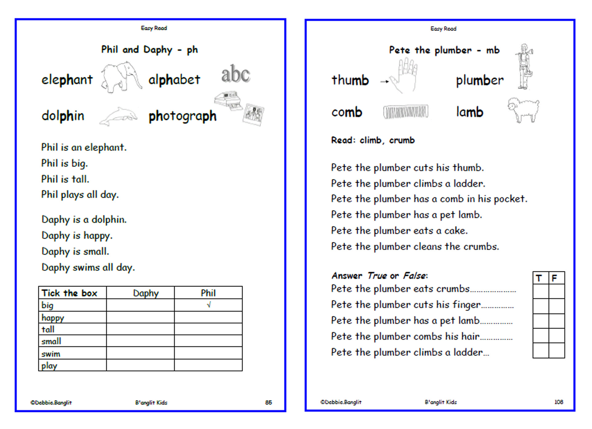 Easy Read - worksheets 85 & 108